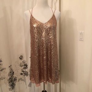 NWT rose gold sequin dress